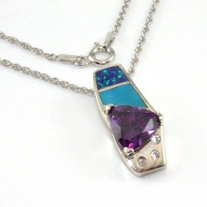Silver Amethyst Opal Turquoise Necklace